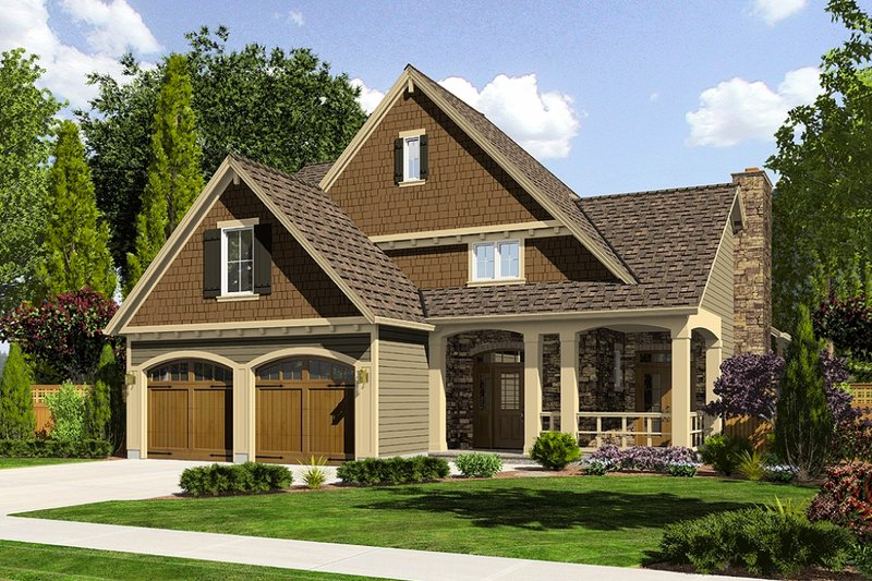 Craftsman Style House Plan - 4 Beds 2.5 Baths 1959 Sq/Ft Plan #46-470 Exterior - Front Elevation