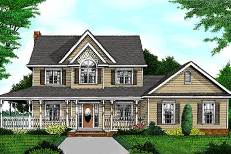 Farmhouse Style House Plan - 4 Beds 3.5 Baths 2457 Sq/Ft Plan #11-218 Exterior - Front Elevation