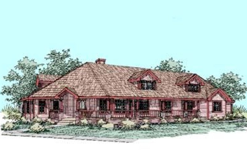 Country Style House Plan - 4 Beds 2 Baths 2706 Sq/Ft Plan #60-284 Exterior - Front Elevation