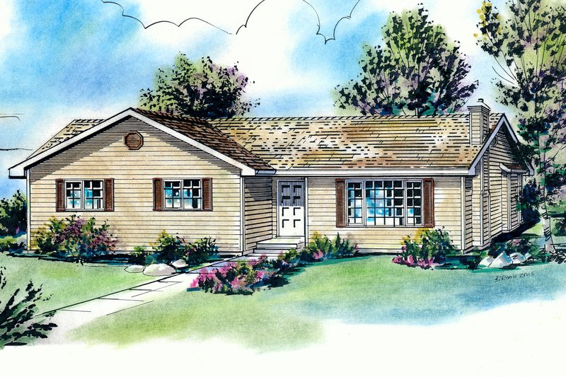 Ranch Style House Plan - 3 Beds 2 Baths 1168 Sq/Ft Plan #18-177 Exterior - Front Elevation