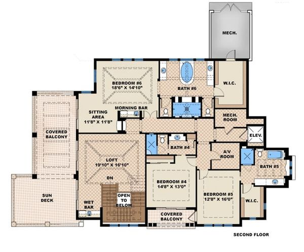 Beach Floor Plan - Upper Floor Plan #27-465