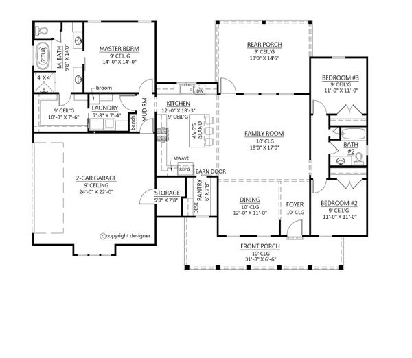 Farmhouse Floor Plan - Main Floor Plan Plan #1074-25