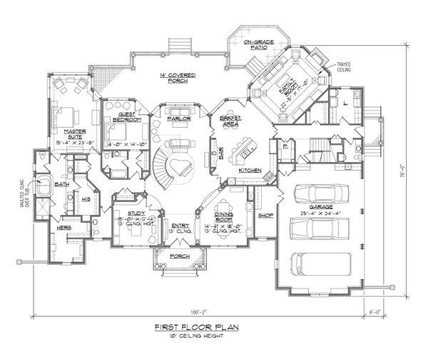 Dream House Plan - European Floor Plan - Main Floor Plan #1054-91