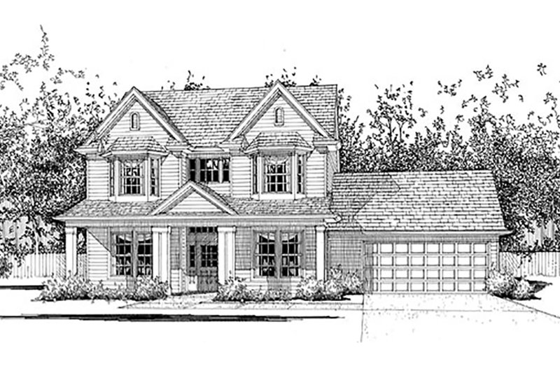 Country Style House Plan - 4 Beds 3 Baths 2127 Sq/Ft Plan #120-133 Exterior - Front Elevation