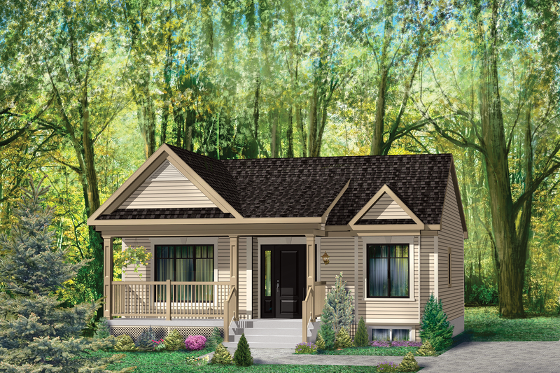Country Style House Plan - 1 Beds 1 Baths 806 Sq/Ft Plan #25-4645 Exterior - Front Elevation