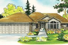 Ranch Exterior - Front Elevation Plan #124-396
