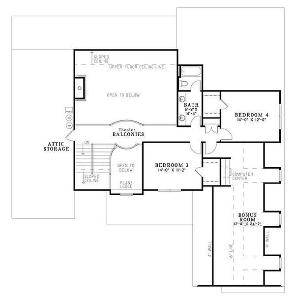 European Floor Plan - Upper Floor Plan #17-2144