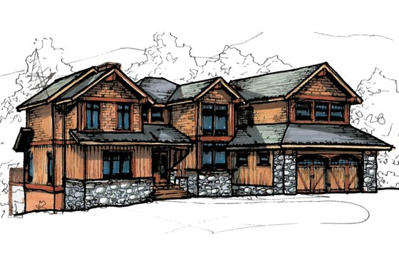 Craftsman Exterior - Front Elevation Plan #921-13