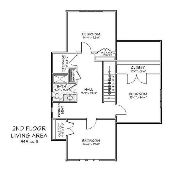 Upper level floor plan - 2600 square foot Craftsman home