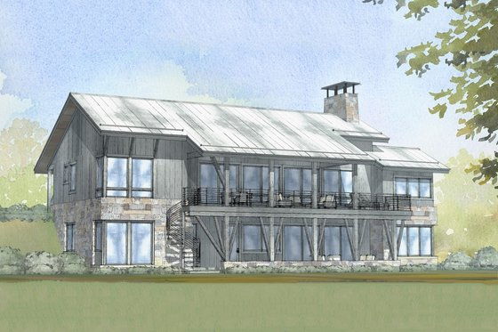 Cabin Exterior - Front Elevation Plan #901-129