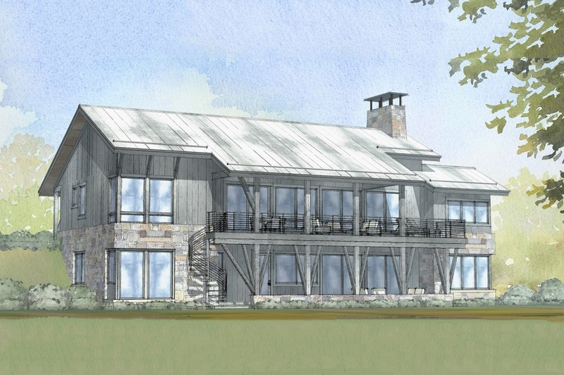 Cabin Style House Plan - 3 Beds 2.5 Baths 3206 Sq/Ft Plan #901-129 Exterior - Front Elevation