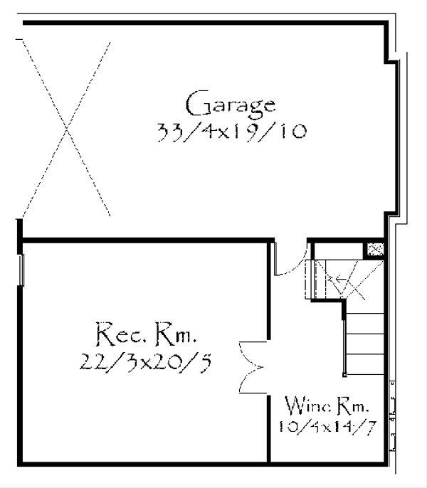 Craftsman Floor Plan - Lower Floor Plan Plan #509-35
