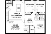 Traditional Style House Plan - 2 Beds 2.5 Baths 1500 Sq/Ft Plan #56-606 Floor Plan - Lower Floor Plan