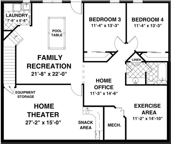 Traditional Floor Plan - Lower Floor Plan Plan #56-606