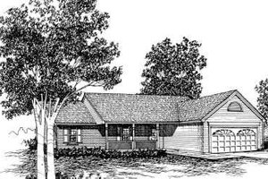 Ranch Exterior - Front Elevation Plan #30-115