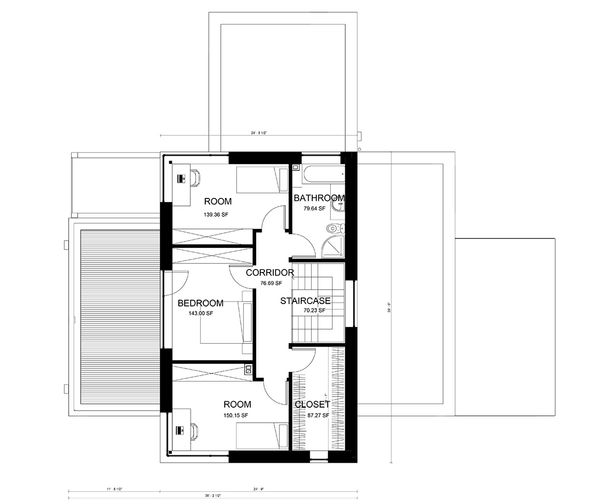 Modern Floor Plan - Upper Floor Plan Plan #906-3