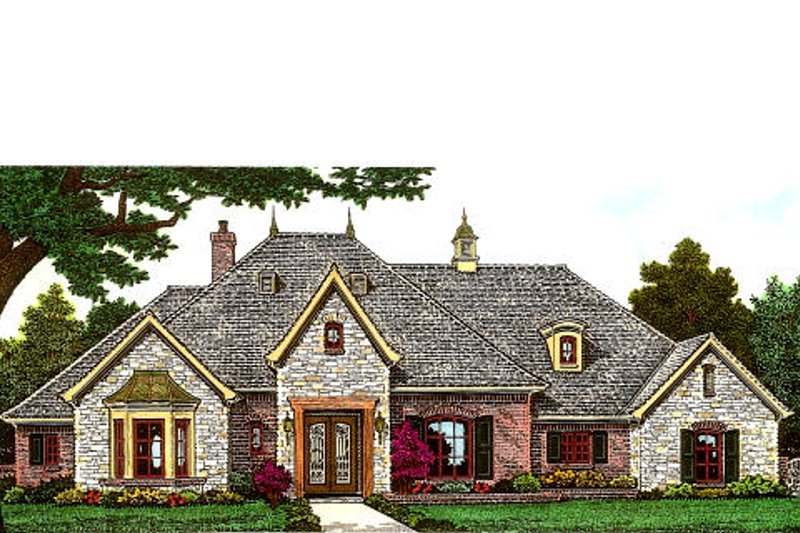 European Exterior - Front Elevation Plan #310-980 - Houseplans.com