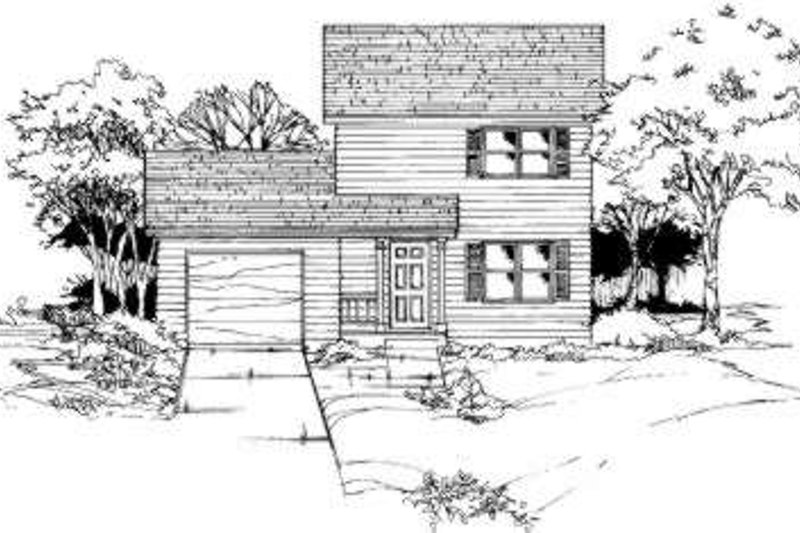 Traditional Style House Plan - 3 Beds 1 Baths 1000 Sq/Ft Plan #334-103 Exterior - Front Elevation