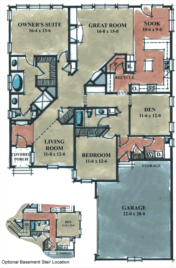 European Floor Plan - Main Floor Plan Plan #20-1627