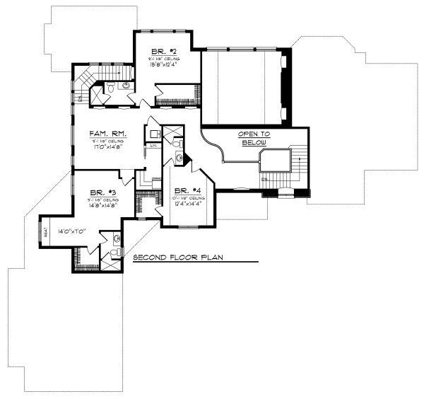 European Floor Plan - Upper Floor Plan Plan #70-1129