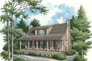 Cabin Exterior - Front Elevation Plan #45-335