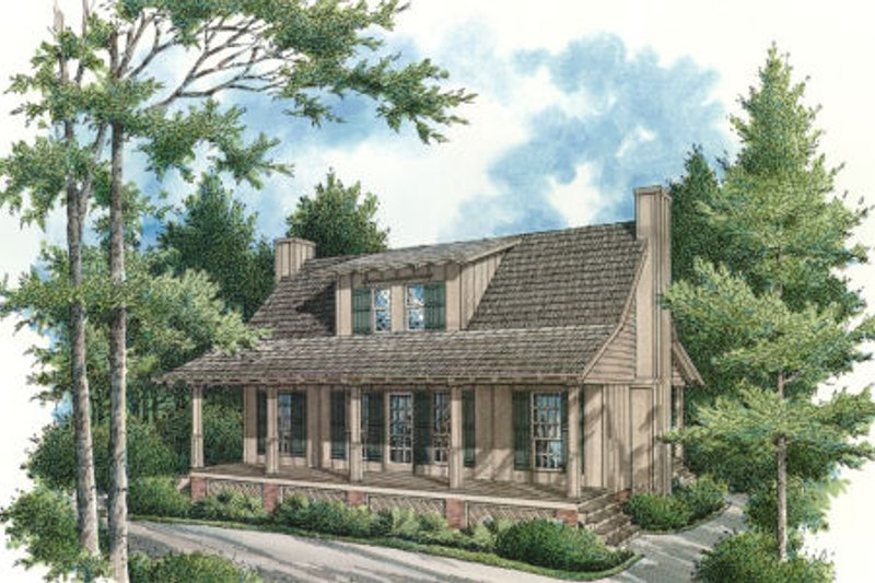 Cabin Style House Plan - 2 Beds 2 Baths 1034 Sq/Ft Plan #45-335 Exterior - Front Elevation