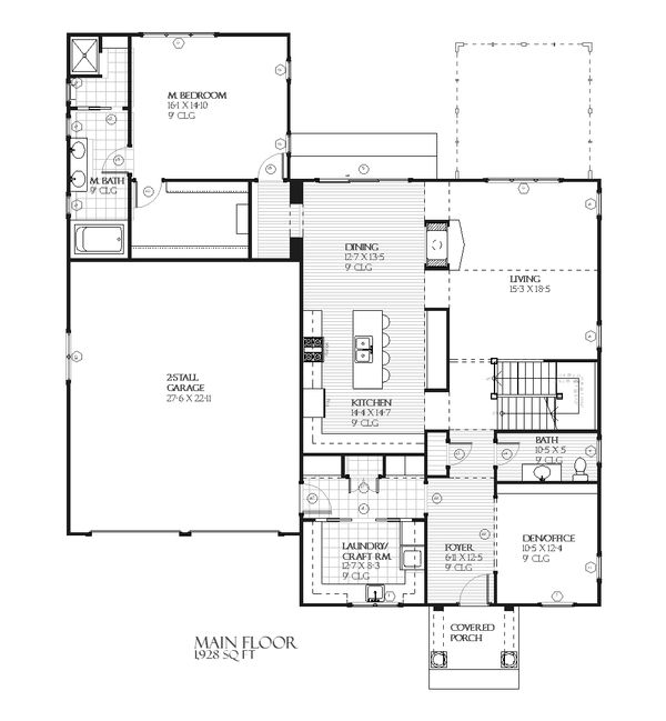 Farmhouse Floor Plan - Main Floor Plan Plan #901-58