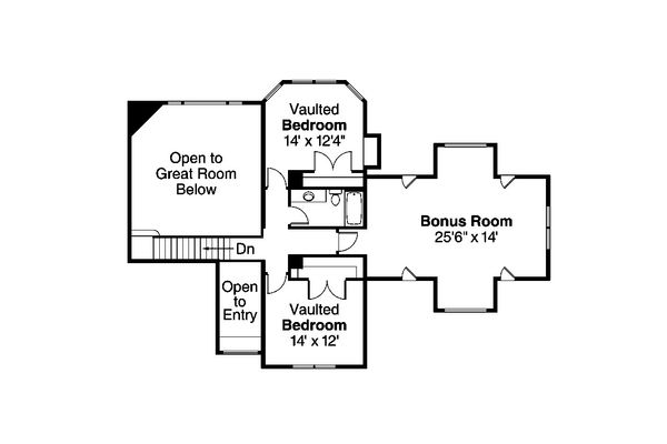 Craftsman Floor Plan - Upper Floor Plan Plan #124-582