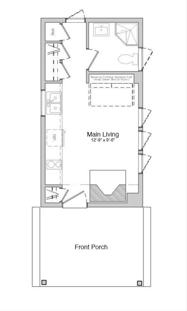 Modern Style House Plan - 1 Beds 1 Baths 312 Sq/Ft Plan #914-2 Floor Plan - Main Floor Plan