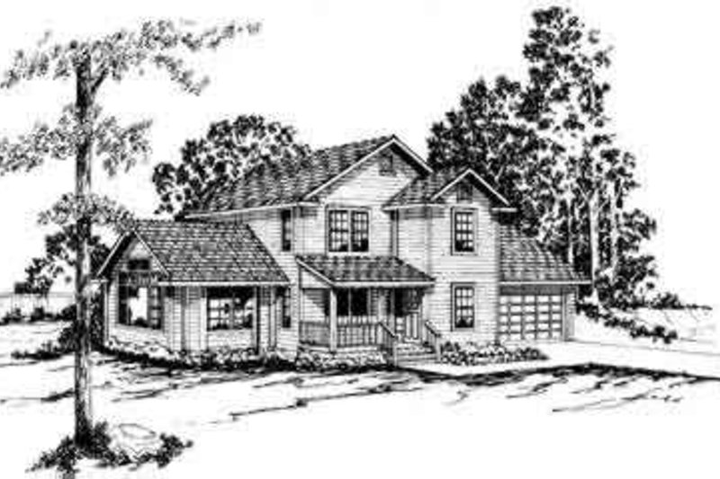 Farmhouse Style House Plan - 3 Beds 2.5 Baths 1797 Sq/Ft Plan #124-161 Exterior - Front Elevation