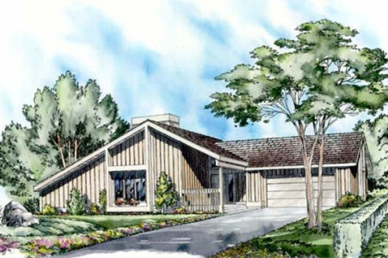 Contemporary Style House Plan - 3 Beds 2 Baths 1512 Sq/Ft Plan #312-524 Exterior - Front Elevation