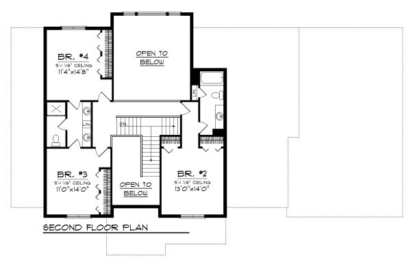 Traditional Floor Plan - Upper Floor Plan Plan #70-1127