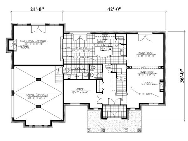 European Floor Plan - Main Floor Plan Plan #138-338