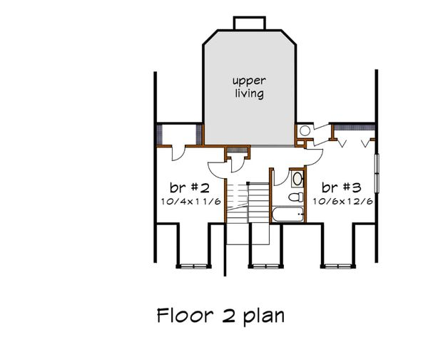 Country Floor Plan - Upper Floor Plan Plan #79-221