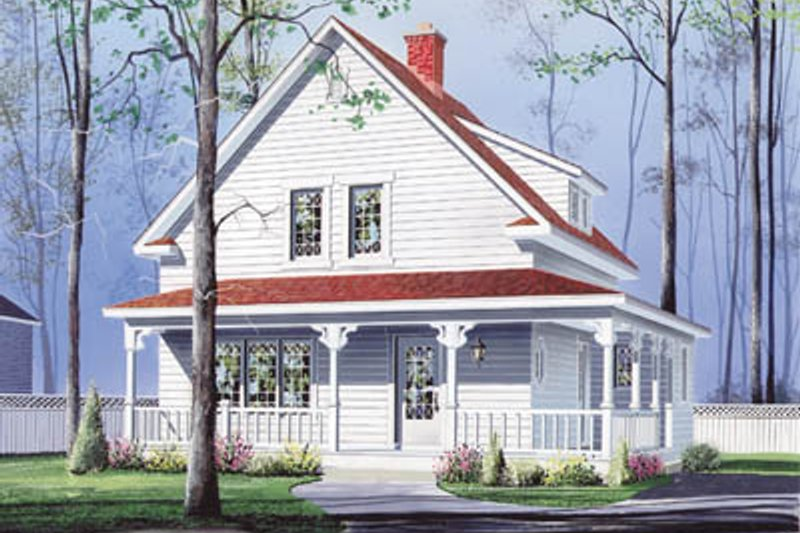 Farmhouse Style House Plan - 3 Beds 1.5 Baths 1501 Sq/Ft Plan #23-214 Exterior - Front Elevation