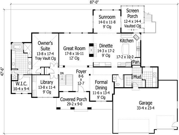 Craftsman Floor Plan - Main Floor Plan Plan #51-501