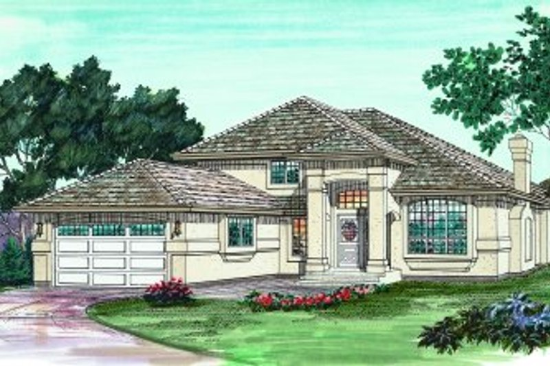 European Style House Plan - 3 Beds 2.5 Baths 2071 Sq/Ft Plan #47-590