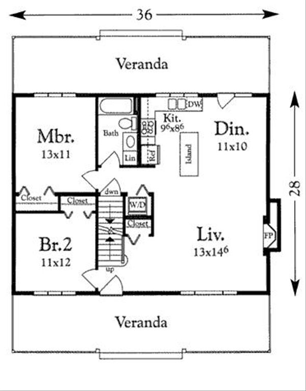 Cottage Floor Plan - Main Floor Plan Plan #409-107