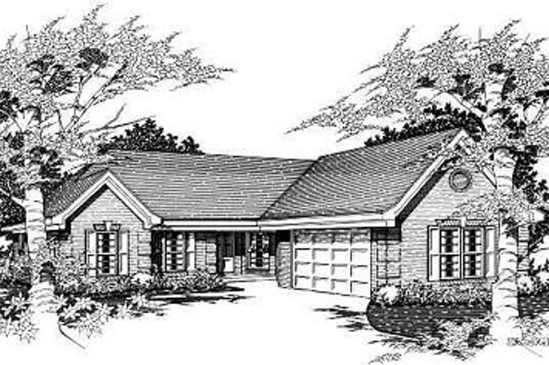 European Style House Plan - 3 Beds 2 Baths 1557 Sq/Ft Plan #329-188 Exterior - Front Elevation
