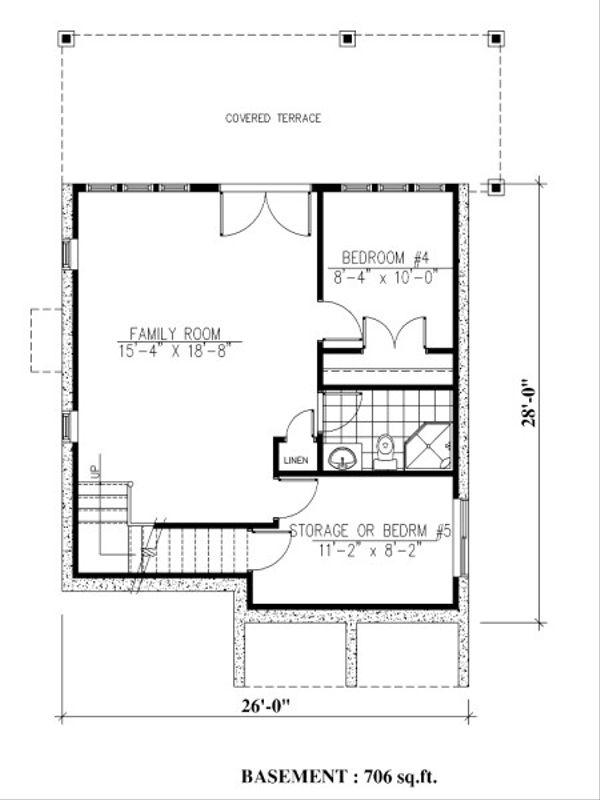Farmhouse Floor Plan - Lower Floor Plan Plan #138-343