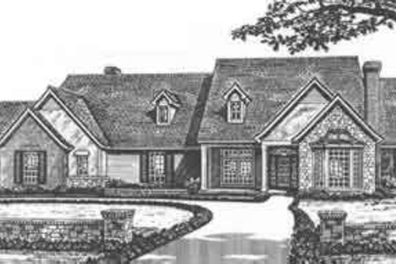 European Style House Plan - 4 Beds 3.5 Baths 3870 Sq/Ft Plan #310-507 Exterior - Front Elevation