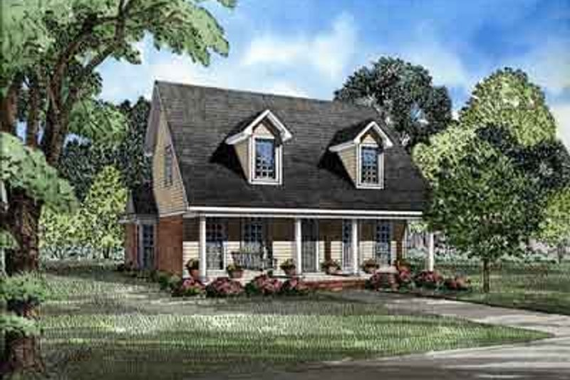 Traditional Style House Plan - 3 Beds 2 Baths 1541 Sq/Ft Plan #17-216 Exterior - Front Elevation