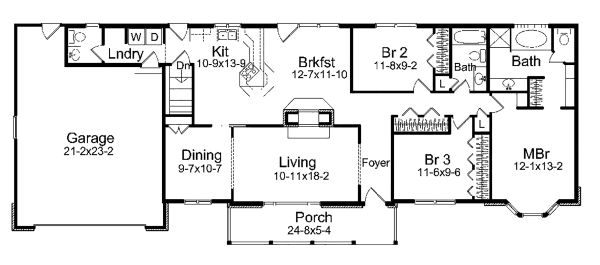 Ranch Floor Plan - Main Floor Plan Plan #57-640