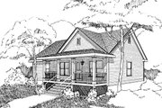 Country Style House Plan - 3 Beds 2 Baths 1092 Sq/Ft Plan #79-118 Exterior - Front Elevation