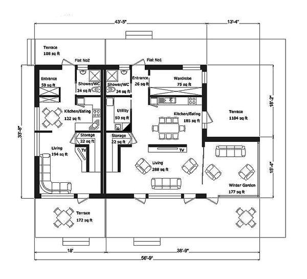 Modern Floor Plan - Main Floor Plan Plan #549-5