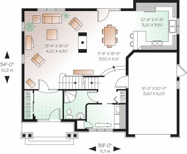 Traditional Floor Plan - Main Floor Plan Plan #23-721