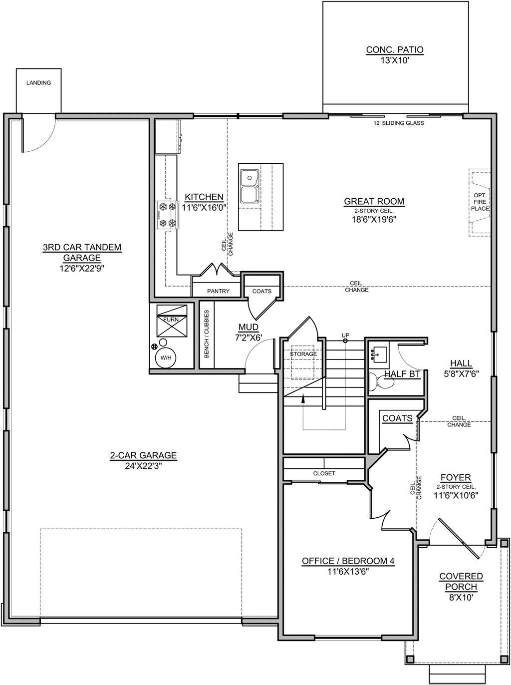 Craftsman Style House Plan 4 Beds 2 5 Baths 2381 Sq Ft Plan 1073 16 Blueprints Com