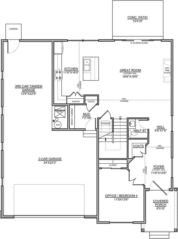 Craftsman Floor Plan - Main Floor Plan Plan #1073-16