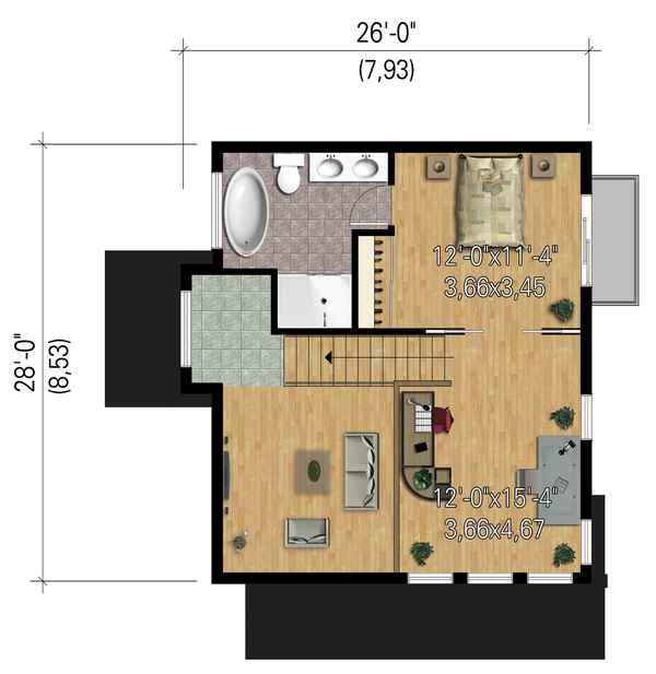 Modern Floor Plan - Upper Floor Plan #25-4364