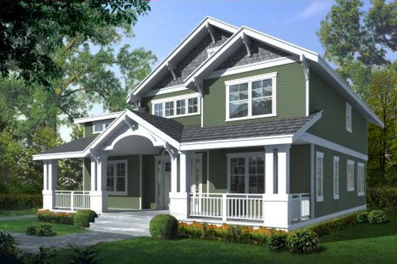 Craftsman Style House Plan - 5 Beds 3 Baths 2615 Sq/Ft Plan #100-437 Exterior - Front Elevation